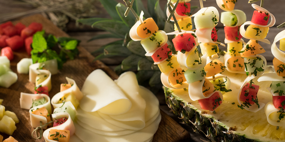 Minted Fruit and Provolone Kabobs