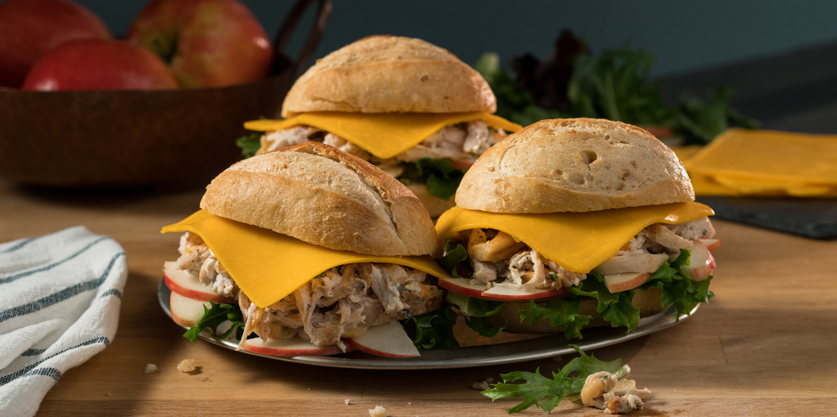 Summer Chicken Salad Sliders with Ultra Thin Sharp Cheddar Cheese
