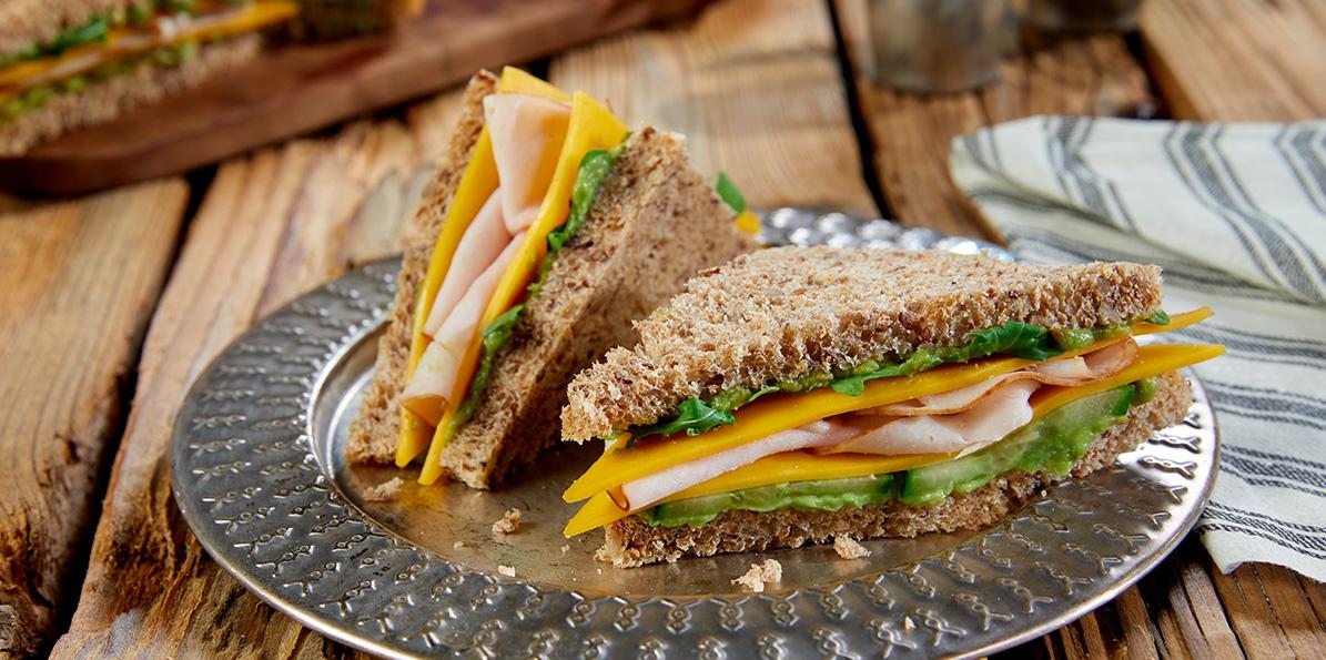 Turkey, cucumber and avocado finger sandwiches