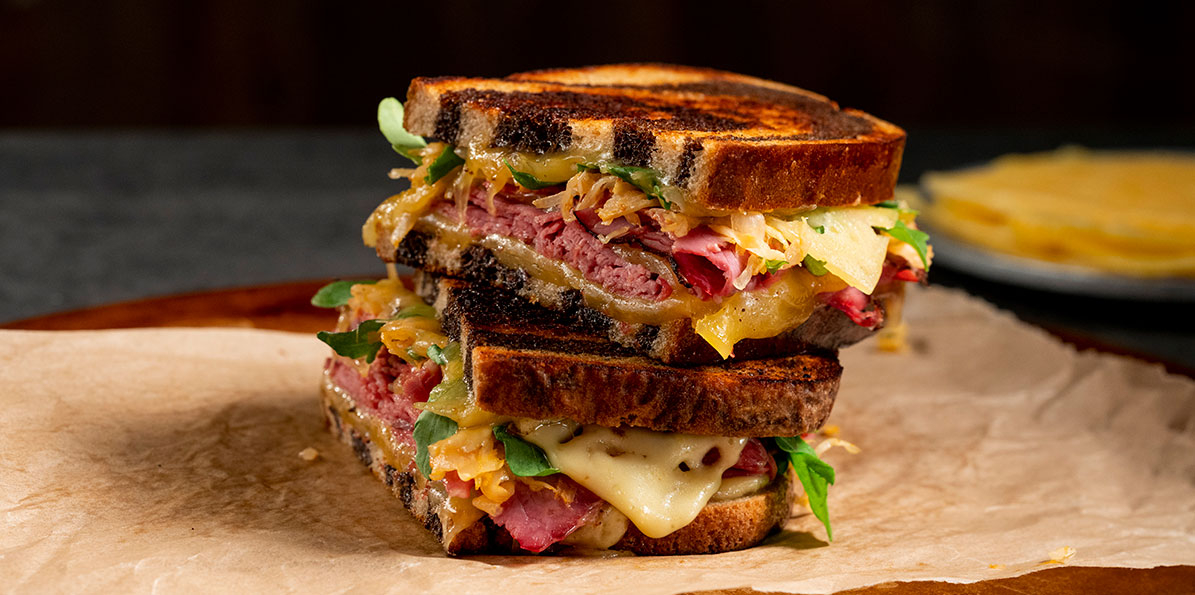 Grilled Pastrami, Gouda and Spicy Sauerkraut Sandwich