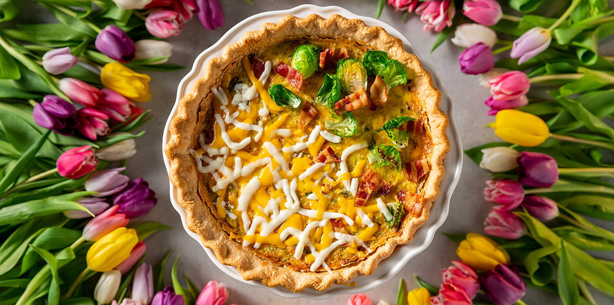 Cheesy Bacon & Brussels Sprout Quiche
