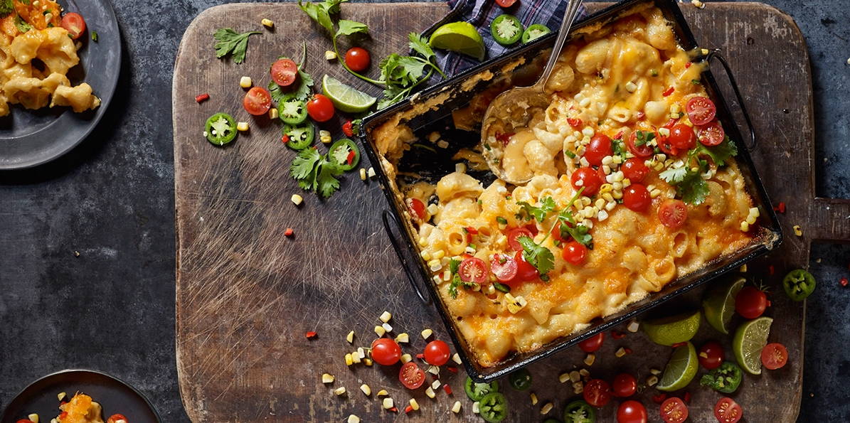 Jalapeno Mac & Cheese with Corn & Tomato Salad