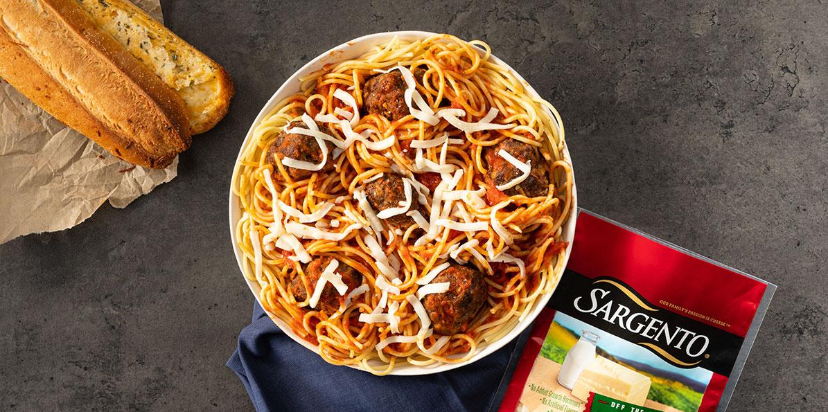 Spaghetti and Stuffed Meatballs