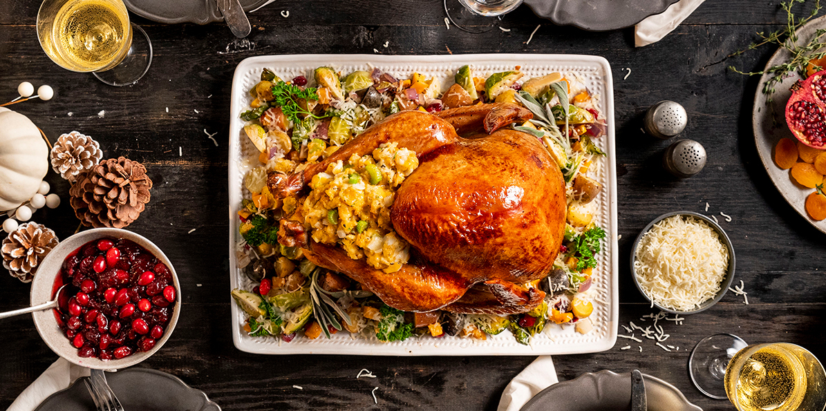 Turkey with Roasted Vegetables & Cheesy Stuffing